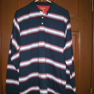 FINL 365 Men's Shirt Polo Striped Navy Large New